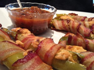 Bacon Wrapped Green Chili's and Salsa