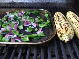 Veggies on the Grill for Bacon & Poblano Chili pizza