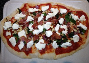 Pre-cooked Bacon & Poblano Chili Pizza, with Goat Cheese