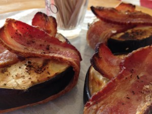 Eggplant Wrapped in Bacon -- right out of the oven