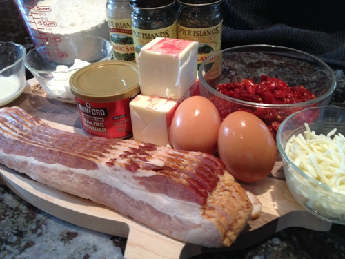 Bacon and Sun Dried Tomato Scone Ingredients