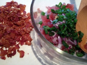 Poke ingredients coming together